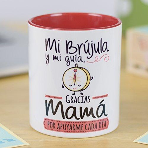 La Mente es Maravillosa - Taza para café o desayuno con mensaje divertido (Mi brújula y mi guía, gracias Mamá por apoyarme cada día) Regalo Original para Mamá