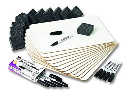 Magnetic Marker Pack (Charles Leonard Magnetic Lapboard Class Combo Pack, Includes 12 Each:  2 Sided Plain/Lined 9 x 12 Inch White Boards, 2-Inch Erasers, Black Dry Erase Markers (35045))