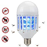 Bug Zapper Light Bulb 2 in 1 Pest Repellent, Mosquito Killer Lamp, Fly Killer, Electronic Insect Light Trap for Home Indoor Outdoor Porch Patio Garden White