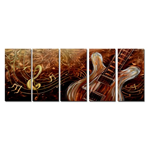 Abstract Guitar Metal Wall Art Accent - Multi Panel Modern Contemporary