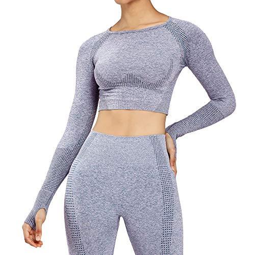Women's Workout Vital Long Sleeve Seamless Crop Top Gym Sport Shirts (Steel Blue Marl, Small)