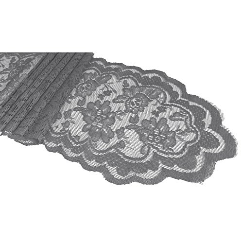 Goldstream Point Silver 108 Inch x 9 Inch Lace Table Runner Narrow Wedding Chair Sash Roll Extra Long