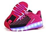 laideqi USB Charging LED Roller Skate Shoes Light Up Glowing Flashing Sneakers for Kids(Pink 1 Wheel 28 M EU/11.5 M US Little Kid)