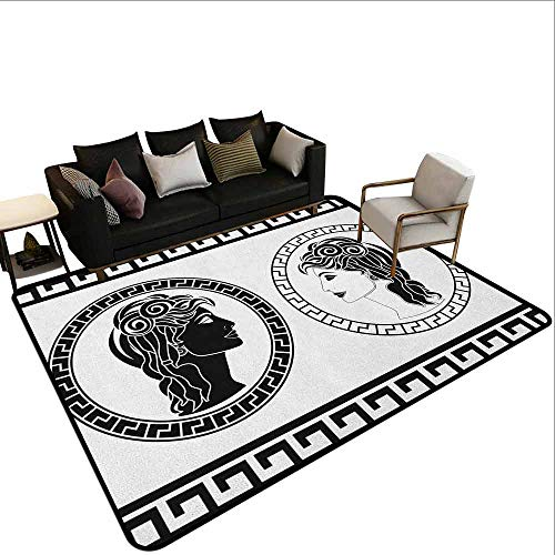 Carpet Next to The Sofa Toga Party,Roman Aristocrat Woman Profiles Circular Classical Frames Hairstyle Beauty, Black White