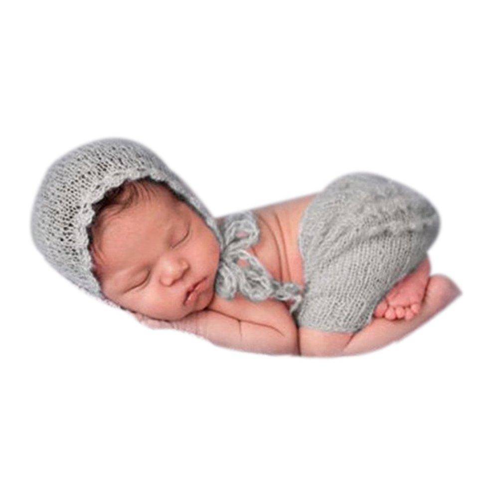 Mode du nouveau-né mignon Boy Baby Girl Costume Tenues Photographie Props Hat Pant Binlunnu
