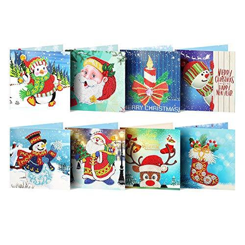 8pcs Christmas Cards 5D DIY Diamond Painting Greeting Card Special Shaped Birthday Xmas Gift