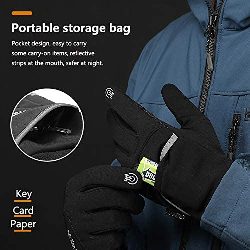 DHSO Winter Cycling Gloves for Men Women Touch Screen Non-Slip Gloves Cold Weather Warm Bike Thermal Gloves for Running,Driving,Hiking,Mountaineering