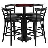 Dyersburg 5pcs Table Set Round 24'' Mahogany Laminate, Black Vinyl Barstool