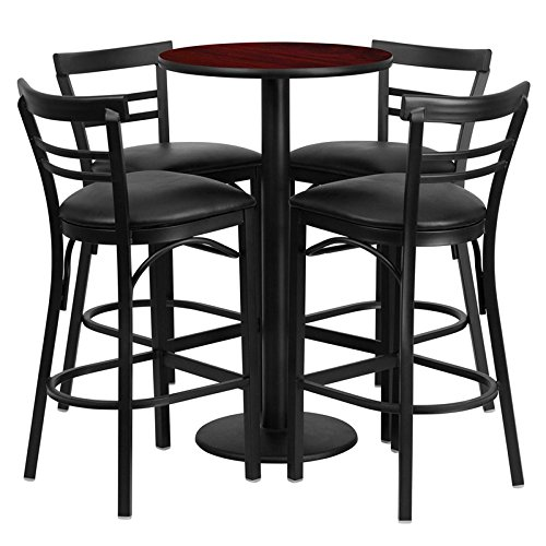 Dyersburg 5pcs Table Set Round 24'' Mahogany Laminate, Black Vinyl Barstool by iHome Studio