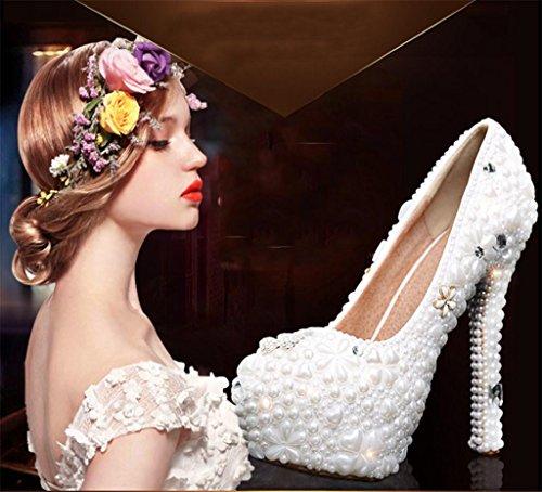 MNII Lace qualité Chaussures Plate Perle Maillots Chaussures Forme Hauts Stiletto De MariéE Talons color Designer Nuptiale Ladies Mariage Party Cristal Femmes bonne rEpRxqwzr