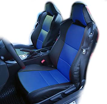 Subaru BRZ Black Blue Artificial Leather Custom Fit Front Seat Cover