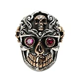 Beydodo Mens Silver Ring, Red Eye Skull Ring Size 9.5 Mens Rings Hip Hop