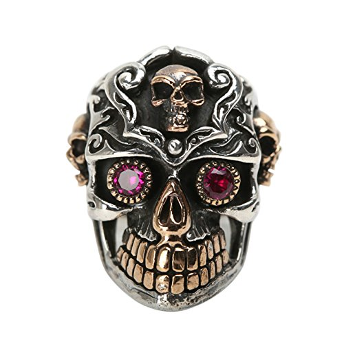 Beydodo Mens Silver Ring, Red Eye Skull Ring Size 9.5 Mens Rings Hip Hop by Beydodo