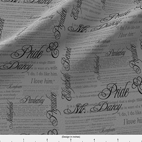 Jane Austen Fabric - Spoonflower Text Fabric Pride & Prejudice Text (In Grey) by Esheepdesigns Printed on Eco Canvas Fabric by the Yard