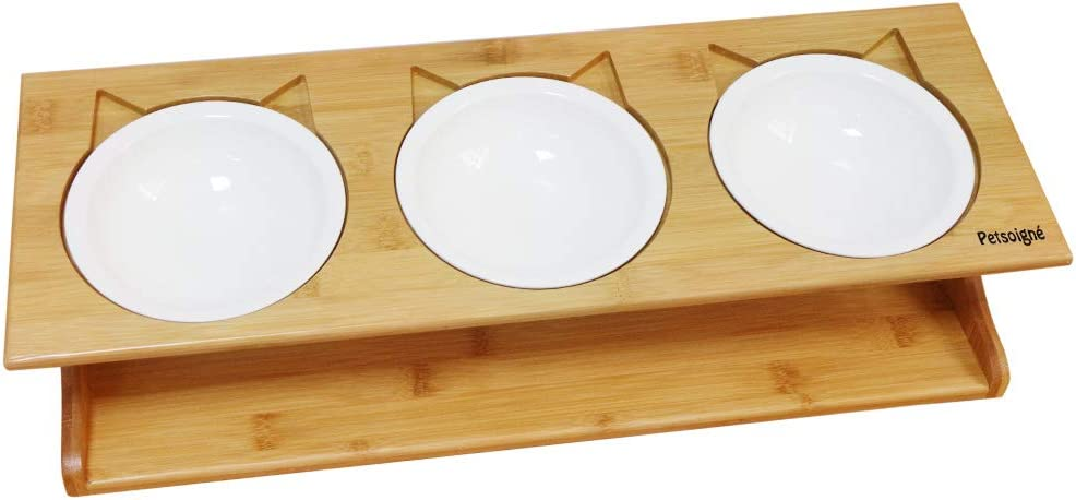 Kitten and Puppy Petsoign/é Cat Bowls Pet Dining Table with Raised Slope Wooden Stand Elevated Pet Bowls with Oblique Stand for Cats Dogs