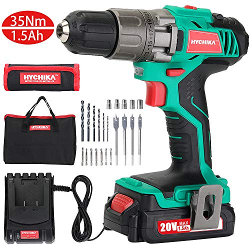 Cordless Drill Driver, HYCHIKA 18V 35N·m Compact Electric Drill Cordless Set With 22PCS Accessories,1H Fast Charging, Variable Speed & Built-in LED for Drilling Wood, Metal and Plastic