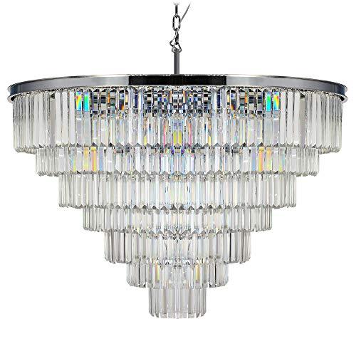 MEELIGHTING Retro Odeon Crystal Chrome Chandelier Lighting Modern Contemporary Chandeliers Pendant Ceiling Lamp Light Fixture 7-Tier for Dining Room Living Room Hotel Showroom (24 Lights) W39.4