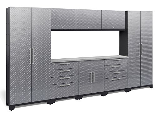 NewAge Products 55770 Performance 2.0 9Piece Cabinetry Set with Stainless Steel Worktop - Diamond Plate Silver, Diamond Plated Silver