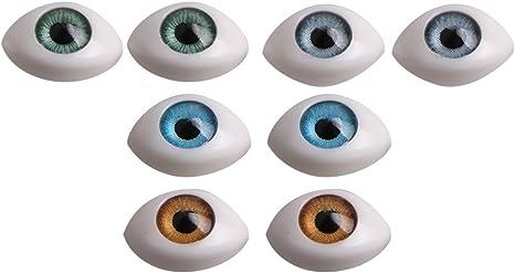4 Pairs 12mm Plastic Oval Eyes Eyeballs for Dollfie Doll DIY Making Accs