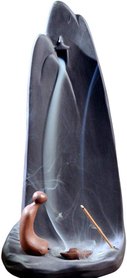 Quemador de incienso de cerámica con forma de cascada, con 10 conos de incienso
