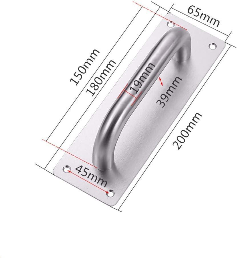 Beschl/äge 1 x Schiebet/ürgriff aus robustem Edelstahl 200 x 65 mm WC-T/ür Zugplatte Holzschrankgriff Schiebet/ürgriffe mit R/ückplatte f/ür Torgriff