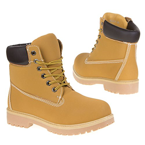 bloque tacón Mujer marrón claro de Combat Guantes schnürer Boots Cordones Italiana cordones Botas Botines diseño Yq5wXX