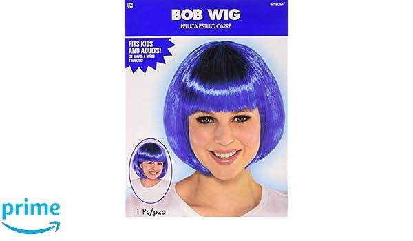Amazon.com: Amscan Blue Bob Party Wig Costumes, 6 Ct.: Toys ...