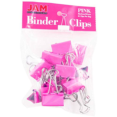 JAM PAPER Colorful Binder Clips - Medium - 1 1/4 Inch (32 mm) - Pink Binderclips - 15/Pack