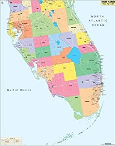 south florida zip codes map laminated 36 w x h office products. Black Bedroom Furniture Sets. Home Design Ideas