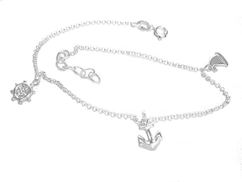 Ritastephens Sterling Silver Nautical Ankle Charm Bracelet Anklet 9-9.5 Inches Adjustable