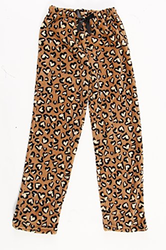 45500-10131-4-5 Just Love Plush Pajama Pants for Girls,Heart Leopard,Girls' 4-5 (Lounge Leopard Pants)