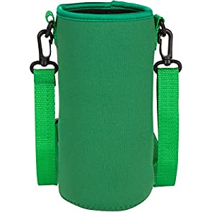 Neoprene Water Bottle Carrier Holder (32 ounces or 1-1.5 Liter) w/ Adjustable Shoulder Strap - Protect Your Containers From Damage - Cover Glass Bottles - Dog Bottle Carrier by Made Easy Kit (Green)