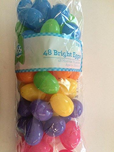 Set of Bright Primary Colors Plastic Eggs - 48 Count