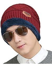Men's New Hats Plush Lining Texture Knit Skull Cap Warm Winter Beanies Hat