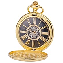 KS Steampunk Mechanical Smooth Gold Tone Case Roman Numerals Pocket Watch Black Dial KSP034