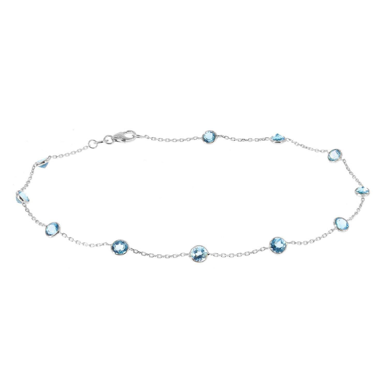 14k White Gold Handmade Station Bracelet With Round 4mm Blue Topaz Gemstones