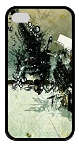 abstract photoshop effect TPU Black Case for iphone 4S/4