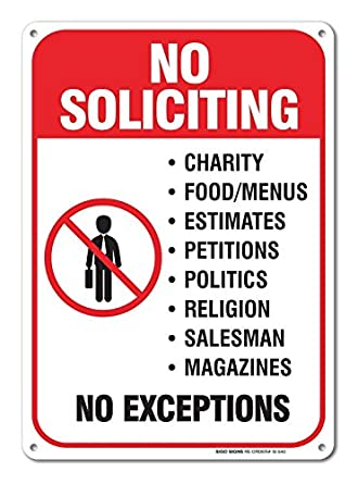 Finest No Soliciting Sign Legend' 10 X 7 Rust Free .40 Aluminum Sign USA  SE46