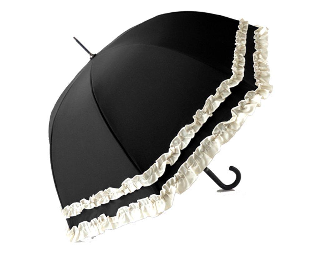 クラシコ 日本製生地 完全遮光100% 遮光100% 晴雨兼用 日傘 uvカット 100% 遮光 ラミネート 傘 1級遮光 レディース ミドル 55cm レザーハンドル ダブルフリル B076HHNYR3 05 ブラック/ベージュ 05 ブラック/ベージュ