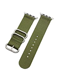 Luxurious Nylon Watch Straps Bands for iWatch Series 1/2 Sport Edition 42mm Green Nato style Durable