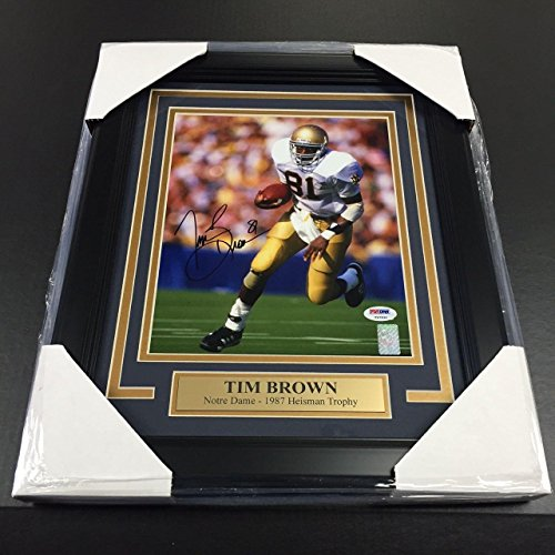 (Tim Brown Autographed Photo - 8x10 COA FRAMED - PSA/DNA Certified - Autographed College Photos)