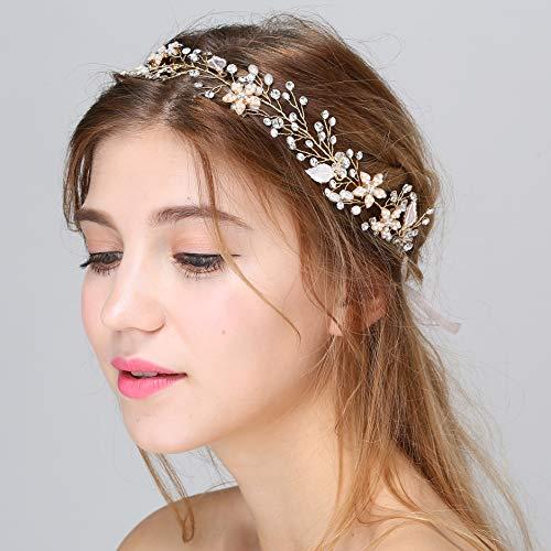 BABEYOND Crystal Wedding Headpiece Hair Vine Bridal Headband Bridesmaid Hairband Crystal Floral Leaf Forehead Band with Lace Ribbon (Flower-Gold) (Ribbon Patent)