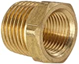 "Anderson Metals 56110 Brass Pipe Fitting, Hex Bushing, 1/2"" NPT Male Pipe x 3/8"" NPT Female Pipe"