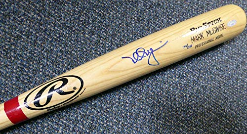 Mark McGwire Autographed Blonde Rawlings Big Stick Game Model Bat Cardinals, A's #/500 Steiner & MLB Holo Stock ()
