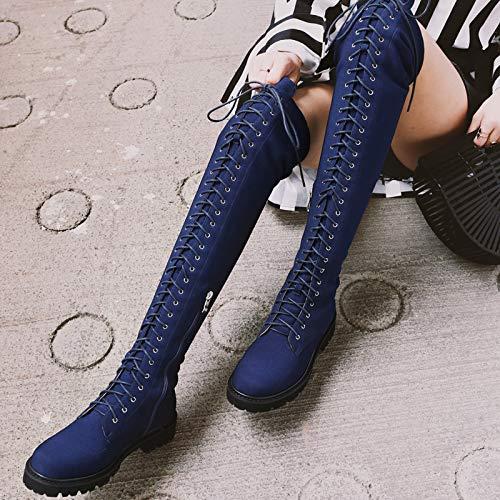 Espesor Terciopelo Invierno de Martin Moda Encaje Botas Retro de 36 Botas Rodilla Retro Mujer con británico Botas de Estilo además Otoño e TSNMNB Azul de de qf4Iw