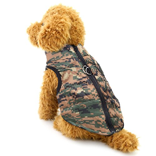 Dog Winter Coat Vest Windproof Warm Dog Clothes Jacket for Cold Weather Dog Outdoor Extra Protection Down Jacket for Small Medium Dogs Digital Camo M