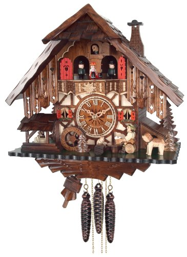 River City Clocks One Day Musical Cuckoo Clock Cottage with Beer Drinker, Waterwheel and ()
