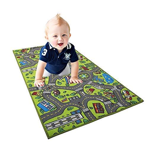 (Children Educational Road Traffic Play Mat Game Mat Kids Carpet Track Crawling Blanket Large Crystal Velvet Carpet for Kids Nice Gift Good Toy 1pc)