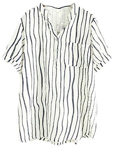 Soojun Ladies Stripe V-Neck Cotton Linen Shirts Top Blouses