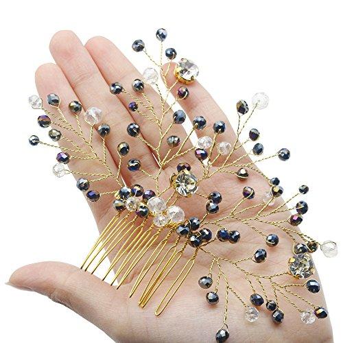 FXmimior Bridal Black Vintage Wedding Party Crystal Rhinestone Vintage Hair Comb Hair Accessories